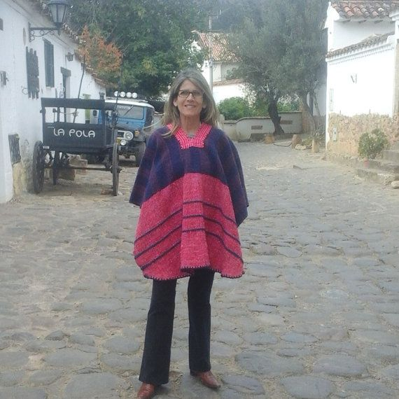 Hand-Loomed poncho /100 % Wool / Pink & Blue /Woman by CasaLunaCo