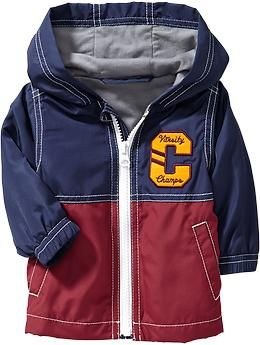 Hooded Varsity Windbreakers for Baby.  Cute, cheap rain jacket?  $15.