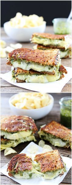 Pesto, Artichoke, and Havarti Grilled Cheese Recipe on twopeasandtheirpod.com. This grilled cheese is bursting with flavor! A MUST make!