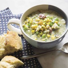 Southwestern Corn Chowder The sweet corn flavor in this dish is amazing paired with spicy chiles and herbs.