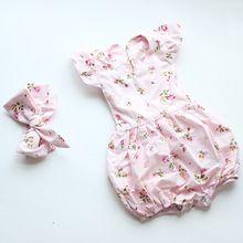 Boutique vintage floral romper do bebê recém-nascido macacão menina bloomer ruffle romper roupa dos miúdos headband correspondida alishoppbrasil