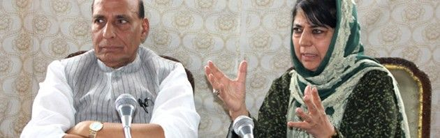 CM Mehbooba Mufti along with Home Minister Rajnath Singh speaking at a press conference in Srinagar.Excelsior\Shakeel-ul-Rehman