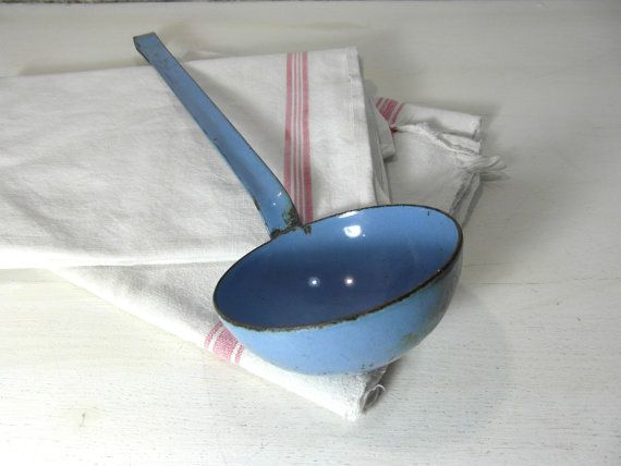 Blue enamelware ladle rustic farmhouse by vintagefrenchdream