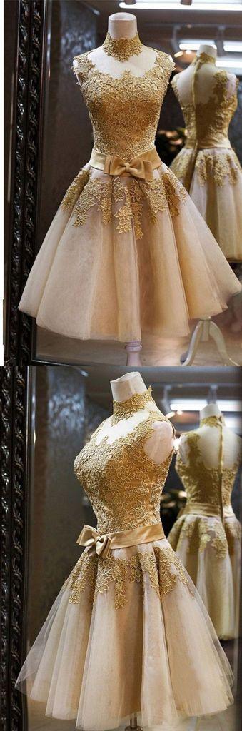Short Prom Dresses, Golden Homecoming Dress pst0313