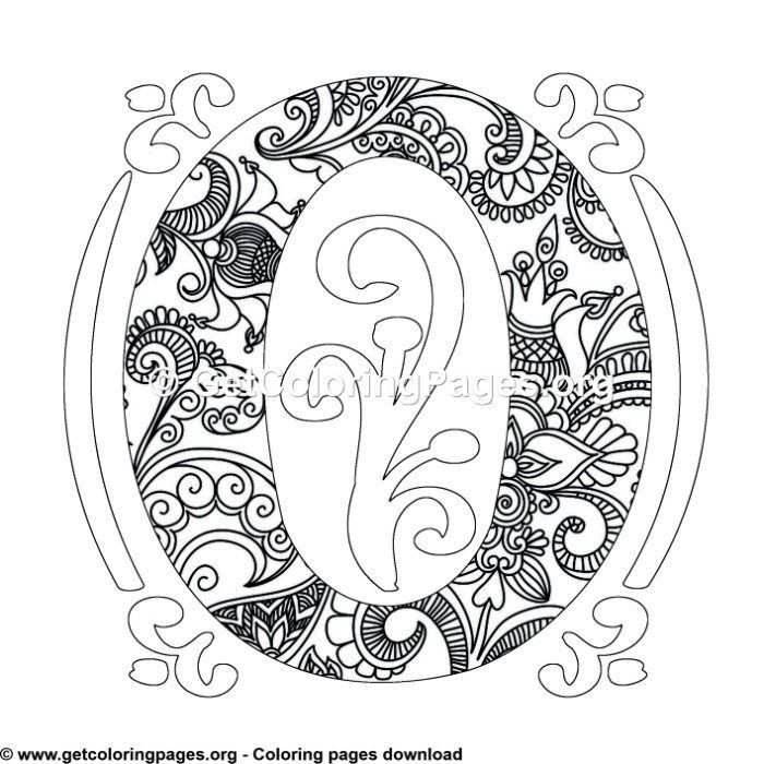Zentangle Monogram Alphabet Letter O Coloring Sheet Owl Coloring Pages Pattern Coloring Pages Unicorn Coloring Pages