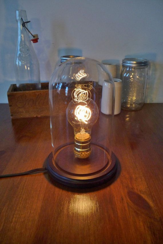 bell jar cloche glass dome rustic lamp vintage victorian style. Black Bedroom Furniture Sets. Home Design Ideas