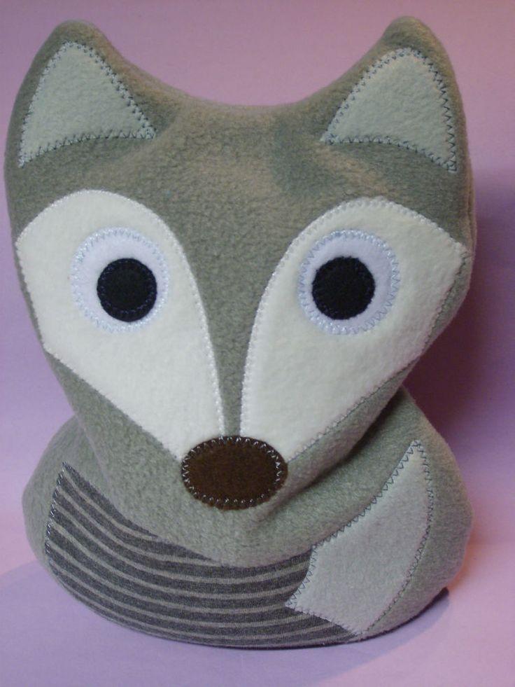 Fuchs Wärmekissen Kuschelkissen Kirschkernkissen aus Fleece grau, Handarbeit