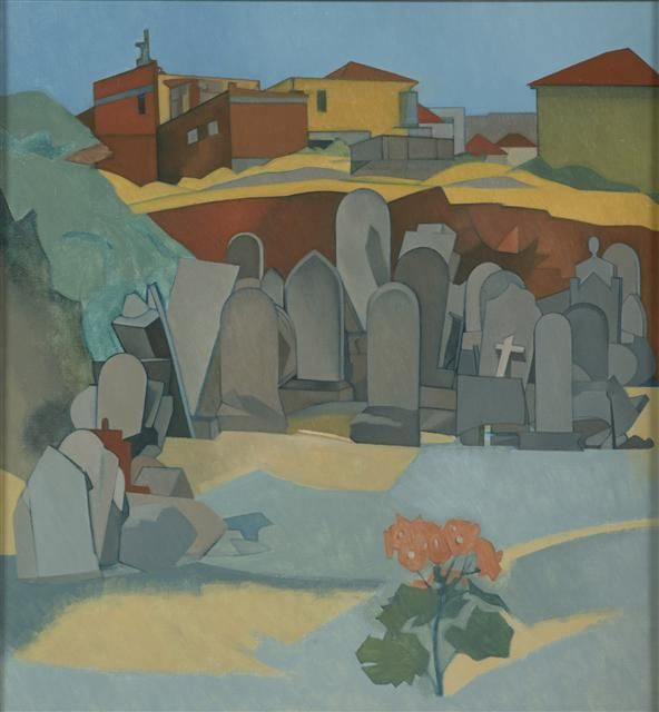 Tombstones from the Bolton Street cemetery, 1969, Rita Angus