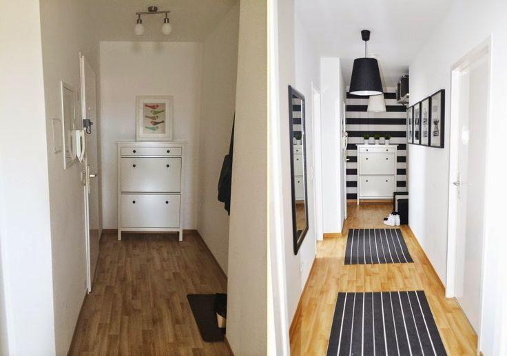 przedpokój czarno-biały, aranżacja black&white; black and white hallway