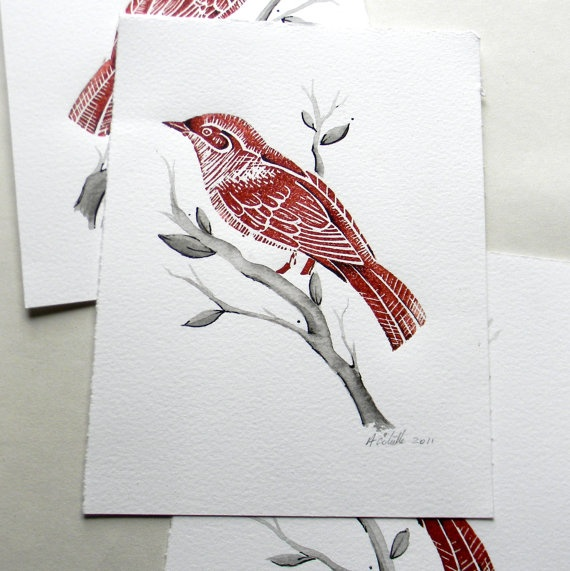 Little Nightingale Lino print and ink