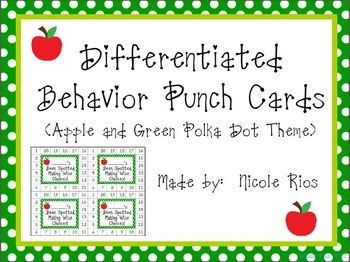 "FREE!  Differentiated Behavior Punch Cards - (Apples and Green Polka Dots).  As we all know, ""One size doesn't fit all."" These behavior punch cards can be used to motivate a wide range of students."