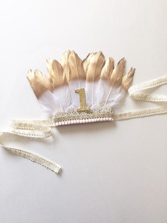 Feather Crown Gold White Feathers Birthday Photo by SofiasHouse