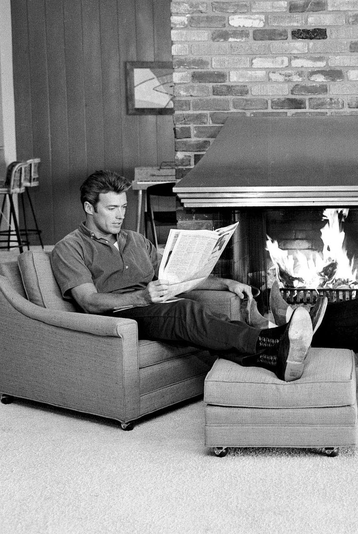 Clint Eastwood photographed at home by Larry Barbier Jr, c. 1960s.