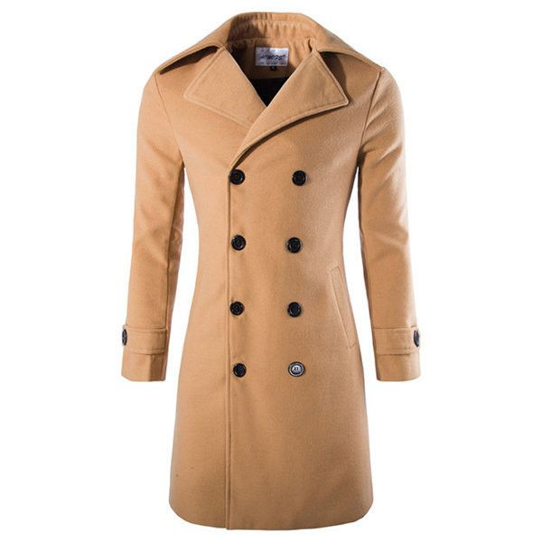s Winter Double-breasted Slim Fit Trench Coat ($40) ❤ liked on Polyvore featuring men's fashion, men's clothing, men's outerwear, men's coats, mens slim fit coat, mens slim trench coat, mens double breasted trench coat, mens trench coat and mens double breasted coat