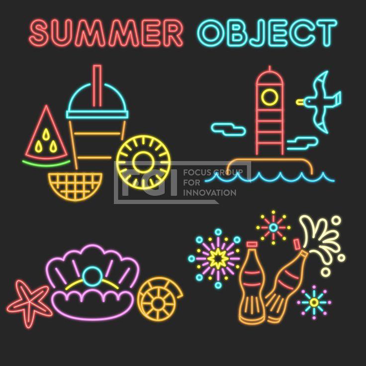 ILL195, 프리진, 일러스트, 여름, 계절, 시즌, 아이콘, 오브젝트, 단순, 심플, 더위, 무더위, 한여름, 모양, 세트, 묶음, 라인, 선, 효과, 특수효과, 네온사인, 네온, 조명, 간판, 수박, 과일, 음식, 시원한, 음료, 간식, 디저트, 생과일, 군것질, 망고, 파인애플, 조각, 얼음, 컵, 잔, 주스, 구름, 날씨, 여행, 야외, 열매, 바다, 해변, 해변가, 휴식, 휴가, 바캉스, 휴양지, 여행지, 등대, 갈매기, 동물, 조류, 새, 조개, 어패류, 갑각류, 불가사리, 콜라, 탄산, 소다, 병, 폭죽, 불꽃놀이, 이벤트, 빨대, #유토이미지