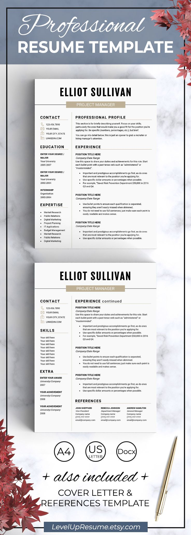 Modern resume template. Professional resume design. Career advice. Job search. Get hired! Click on the link or save the pin to your board >>>>> #career #job #resume #resumetemplate