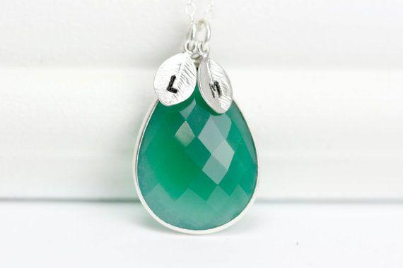 Green Onyx Gemstone Necklace - Silver Personalized Necklace - May Birthstone Necklace on Etsy, $45.00