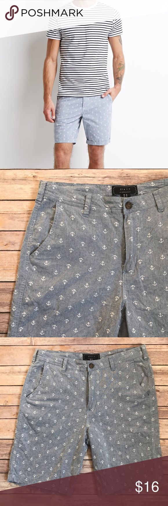 """21 Men Anchor Print Blue Shorts 32 C1 Length: 21""""  Back pockets   Condition: No Rips; No Stains  100% Cotton   📦I ship orders within 24 Hours! {Except Weekends}📦  🚫No Trades🚫No Holds🚫 21men Shorts Flat Front"""