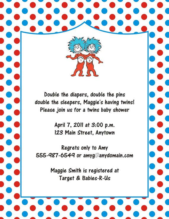 DIGITAL FILE Thing 1 And Thing 2 Dr. Seuss Birthday Or Baby Shower  Invitations