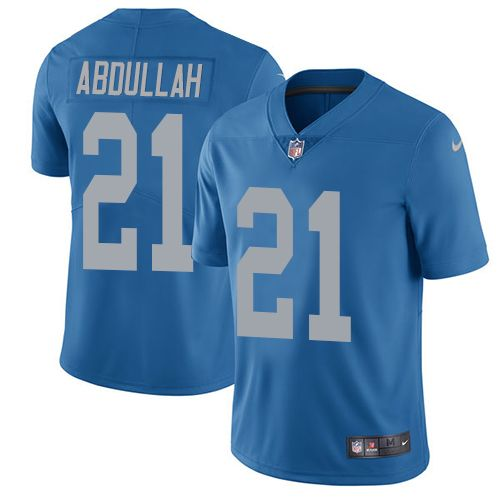 Nike Lions #21 Ameer Abdullah Blue Throwback Men's Stitched Game Jersey