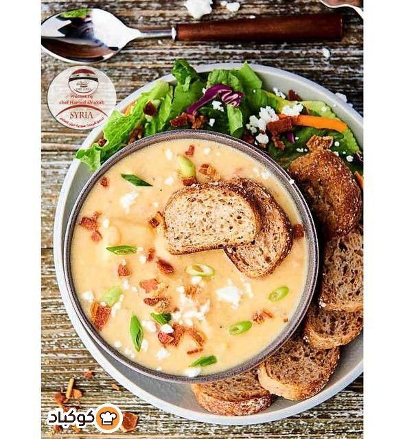 طريقة عمل شوربة البطاطا مع الدجاج و كريم الطبخ بالصور من Chef Hamed Alnakab Recipe Food Chowder Cheeseburger Chowder