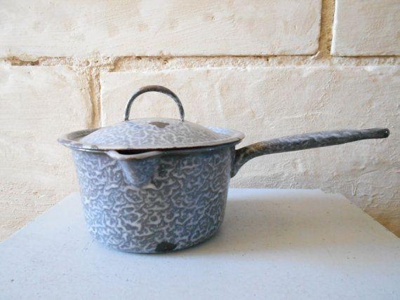 Vintage Dutch enamel saucepan with pouring spout and lid, flecked grey, farmhouse decor, rustic cottage.
