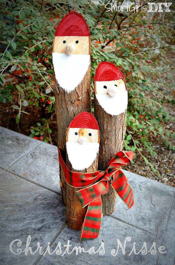 The santa logs Christmas craft is super easy to make out of cedar logs. This Nisse decoration is the perfect way to celebrate our Danish heritage.
