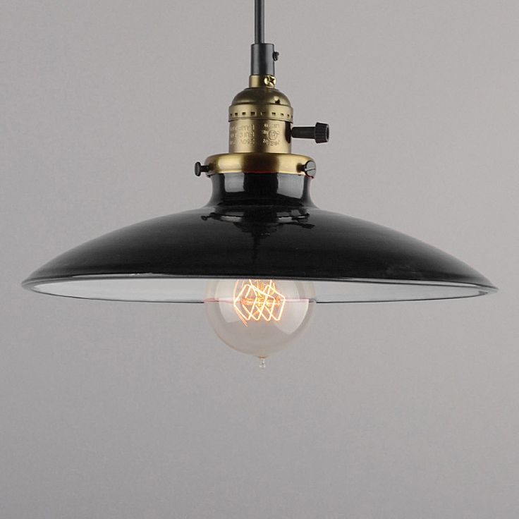 Historické klasické závesné svietidlo s lesklým tienidlom v čiernej farbe