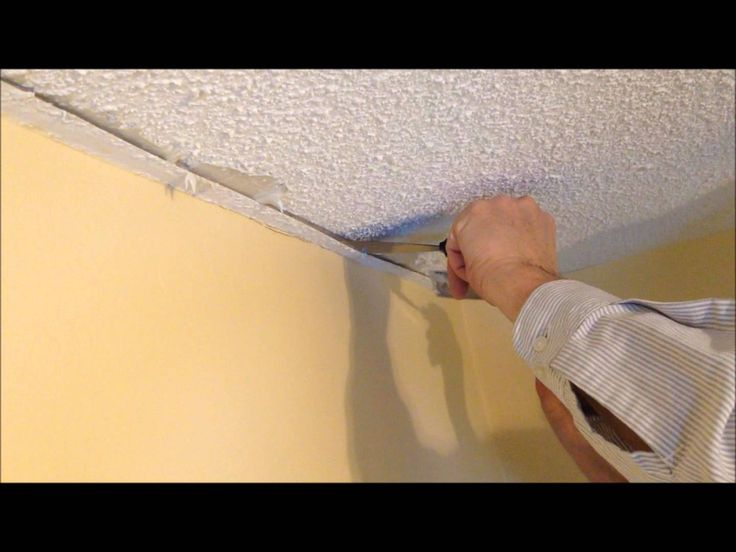 How to repair a stucco ceiling crack and re attach drywall tape to drywall - YouTube