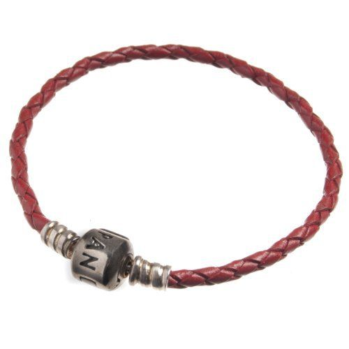 BRACELET S/S & LEATHER RED PLAITED 20.5CM - Jons Family Jewellers