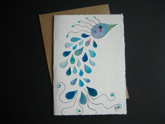 The bird with a thousand songs Watercolor card blue by Noukshouk