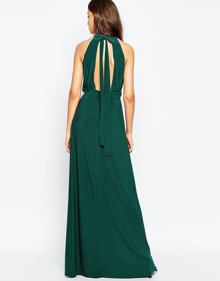 Image 2 ofASOS TALL Halter Plunge Maxi Dress With Embellished Waist
