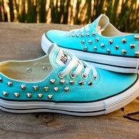 Tiffany Blue Studded Converse - The Converse Vans Look-Alike