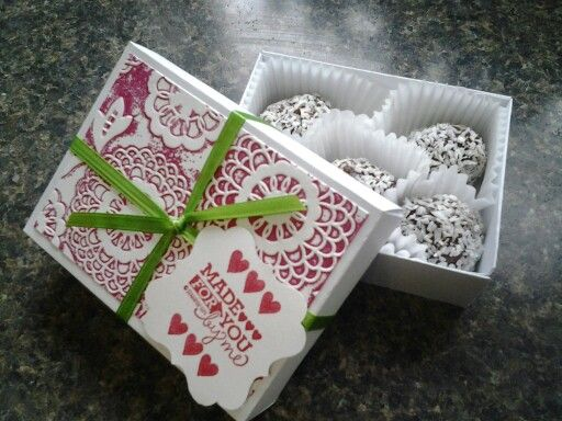 Treat box made with envelope punch board