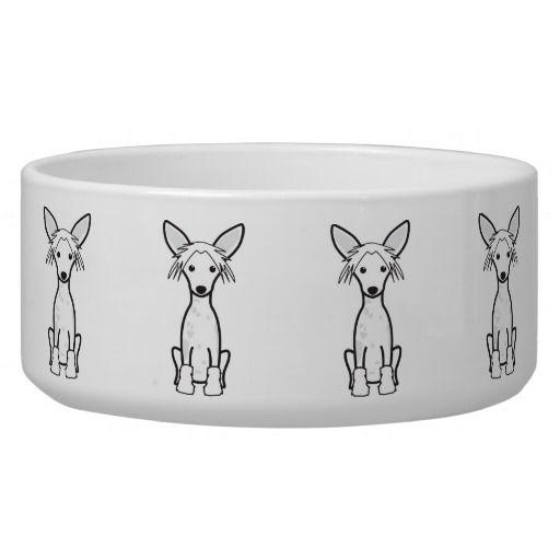 Chinese Crested Dog Cartoon Dog Food Bowls