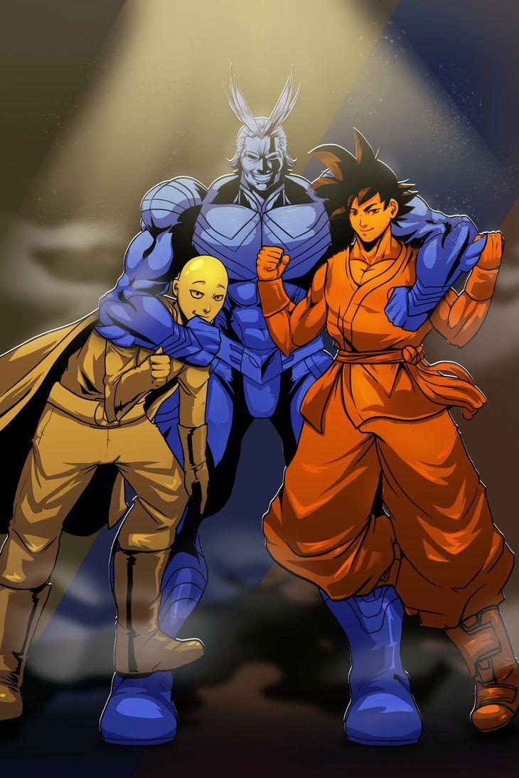 Saitama All Might And Goku Anime Crossover One Punch Man Heroes Saitama One Punch Man