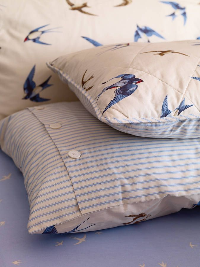blue birds luxury duvet set by fifty one percent | notonthehighstreet.com