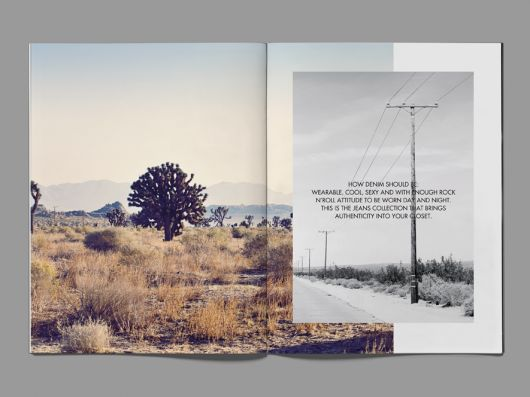I really enjoy the simplicity and contrasting colors in this magazine ad. The use of a smaller black & white photo on the right-hand side against the colored desert photo works really well in my opinion.