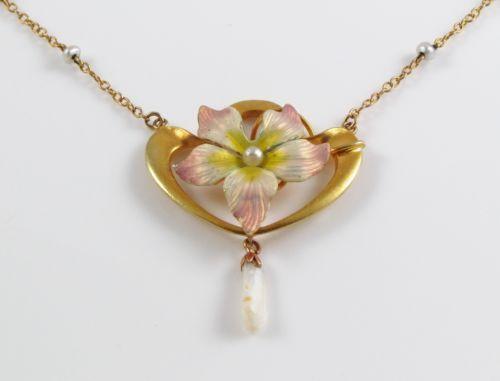 14k Gold Art Nouveau Enamel Pearl Floral Motif Pendant Drop Necklace