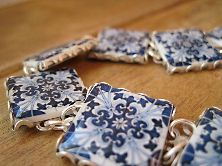 Iberian tile pattern bracelet, Portuguese and Spanish ceramic tile design, Azulejos, Folk art jewelry, Mediterranean, MTO by CorinaCrooks on Etsy