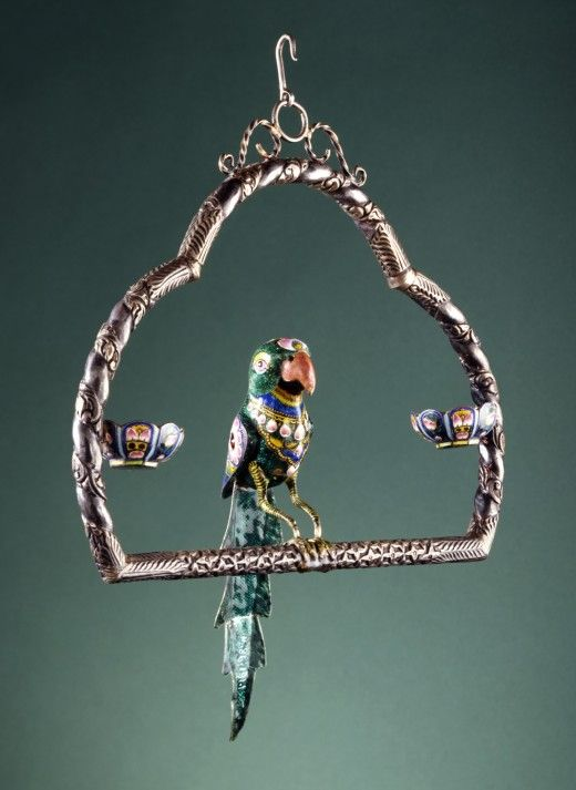 Enameled silver inlaid with glass, Parrot on a Swing,  Varanasi,  Uttar Pradesh,  India, late 19th century Sculpture