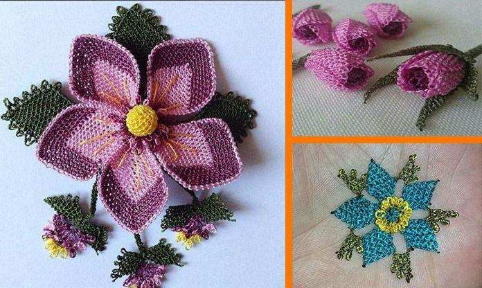 iğne oyası çiçek modelleri