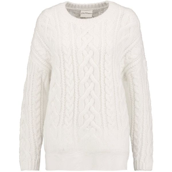 DKNY Tulle-trimmed cable-knit sweater (285 SGD) ❤ liked on Polyvore featuring tops, sweaters, white, dkny sweater, chunky cable knit sweater, white sweater, cable-knit sweater and cable knit sweater