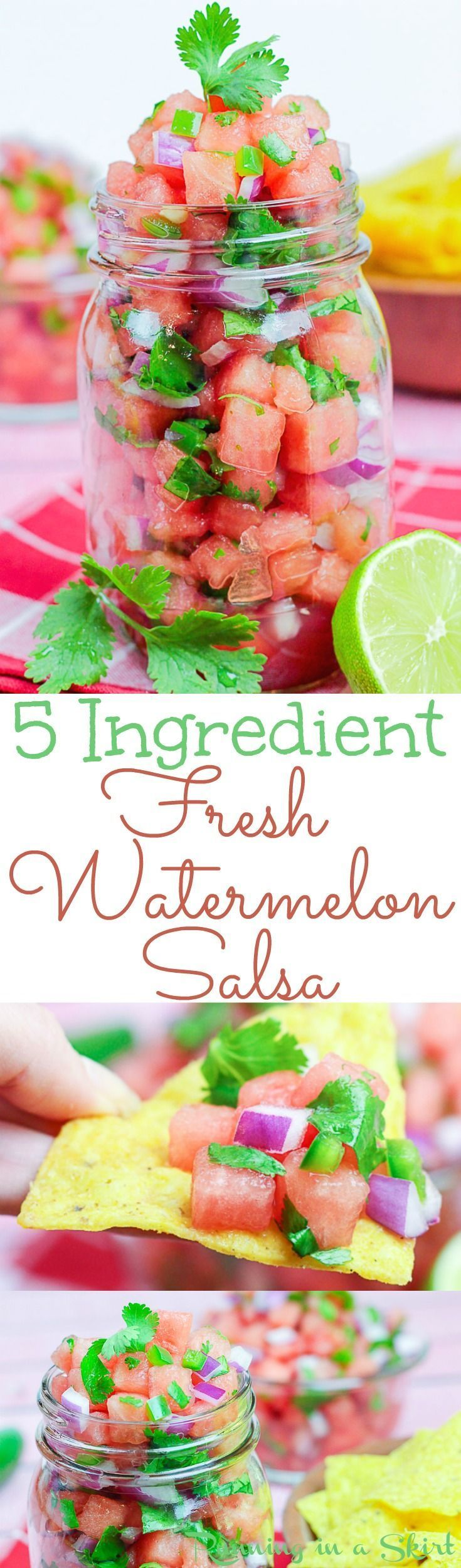 5 Ingredient Fresh Watermelon Salsa recipe.  Simple, easy and healthy!  Uses lime juice and cilantro. This just might be the BEST recipe of summer. / Running in a Skirt