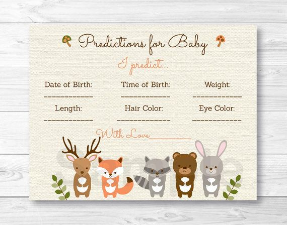 Woodland Forest Animal Baby Predictions by LittlePrintsParties