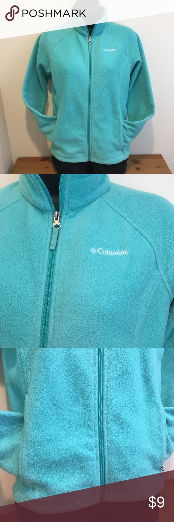 3/$15 or $9 FIRM Columbia Fleece Jacket Girl's Lg Get a great deal on this Columbia jacket! It is a Girl's size large 14/16, teal color, used but in decent shape. No rips or holes, but there is a small mark on the right sleeve and some general wear from normal use noted. It's zips all the way up and down but at the very top it feels a little tight. Priced accordingly, lots of use left in this fleece. Smoke free home. Part of my 3/$15 Bundle sale, $9 firm if purchased separately. Columbia…