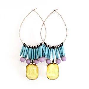 Earrings > ピアス/イヤリング - ブルー&パープル フリンジフープピアス