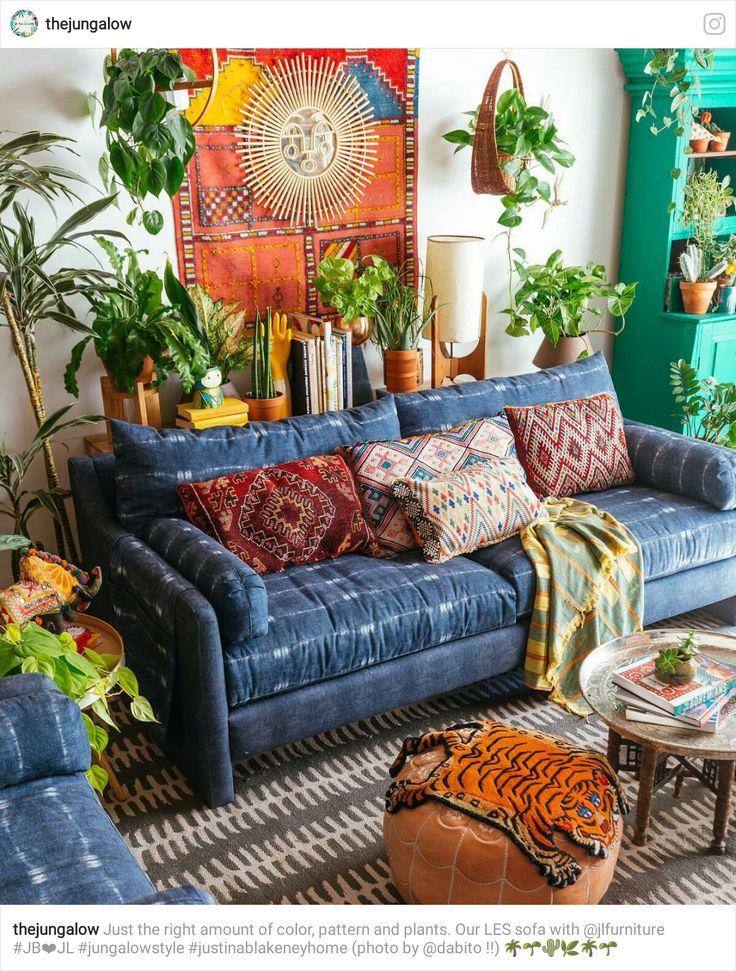 Boho Gypsy Living Room with super cozy couch  Boho Decor