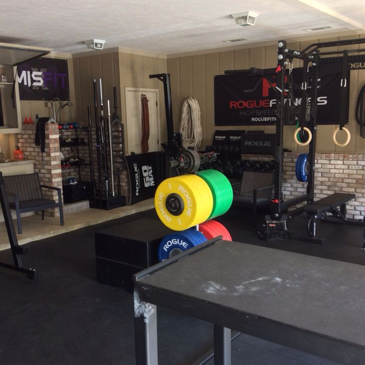 Ideal home garage rogue fitness gym crossfit bars squat