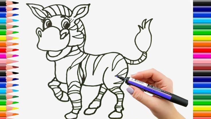 Dibuja y Colorea Una Zebra de Arco Iris - Dibujos Para Niños - Learn Colors